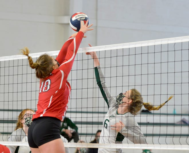 Barnstable's Emily Mulcahy, left, tries to block a play by Dennis-Yarmouth's Ava Pecorella. D-Y defeated Barnstable on Wednesday to remain undefeated.
