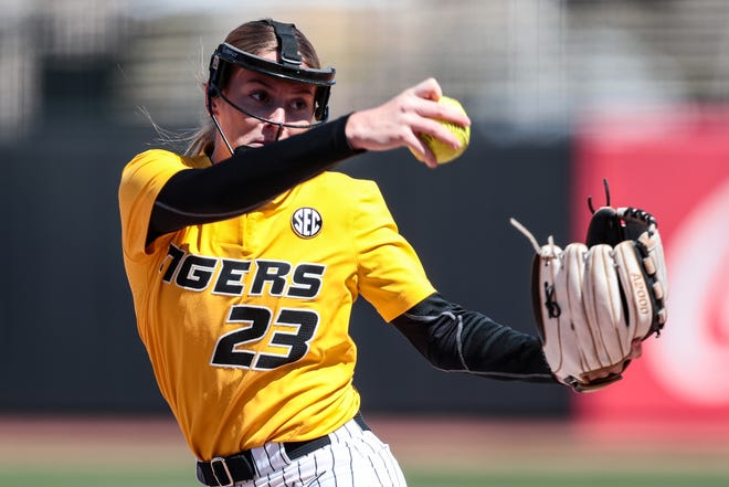 Missouri's Jordan Weber (23) delivers a pitch during a game against Auburn on March 28 at Mizzou Softball Stadium.