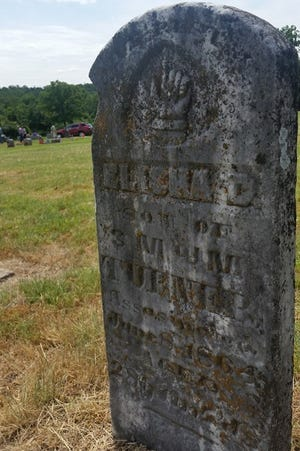 The headstone of Capt. Elisha Turner, a resident of Greenwood and member of the Arkansas militia.