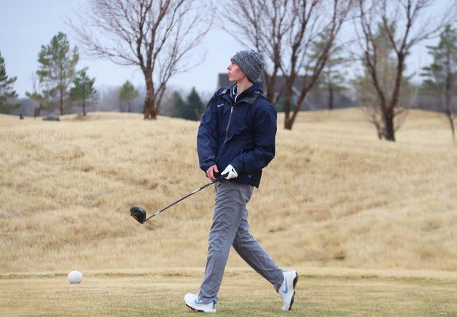 Ashton Shockman tees off at the Grafton Invitational on April 8. Shockman and the Crookston boys' golf team finished 15th at the Bemidji Invitational on Monday.