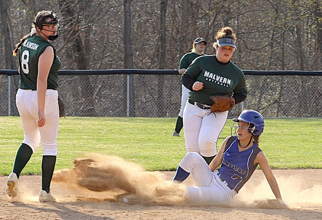 Buckeye Trail sophomore Emma Smith (7) slides safely into second base during Wednesday's Inter-Valley Conference softball game with Malvern in Old Washington. The Lady Warriors improved to 5-2 on the year with a 15-0 victory.