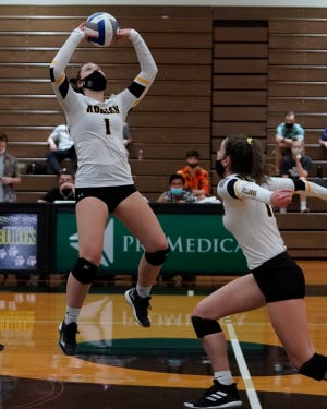 Adrian College's Liz Susitko looks to set up a kill during Wednesday's match against Hope.