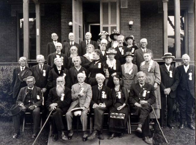 The Grand Army of the Republic (GAR) was the first nationally organized veteran's organization. It was composed of Union Civil War veterans and was founded in 1866. Here are members of the GAR Monroe post 76 and the Women Relief Corps.