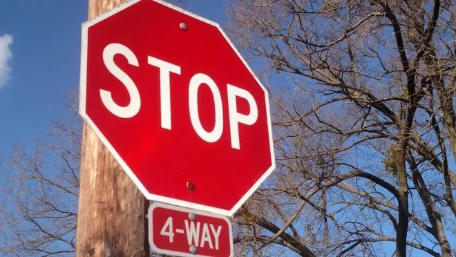 The intersection of East Rhode Island and South Leavitt avenues in Orange City is being converted to a four-way stop beginning Monday, April 12, 2021.