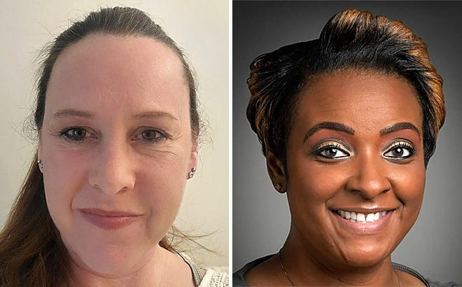 Challengers winning seats on the District 205 school board on Tuesday, April 6, 2021, were, Pamella Bess-Tabb, right, and Tera Boettcher.