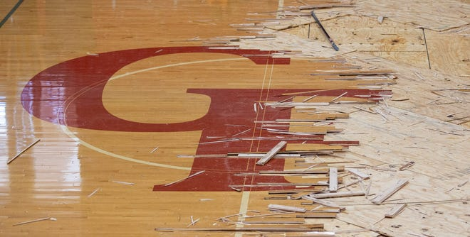 Crews recently completed the demolition of the old floor at Tiger Arena that suffered major water damage during the freezing temperatures earlier this year.