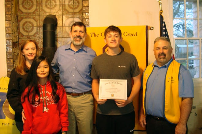 Mason Daniels was named a Glen Rose Optimist Club Youth of the Month at a ceremony on March 23 at Barnard's Mills.
