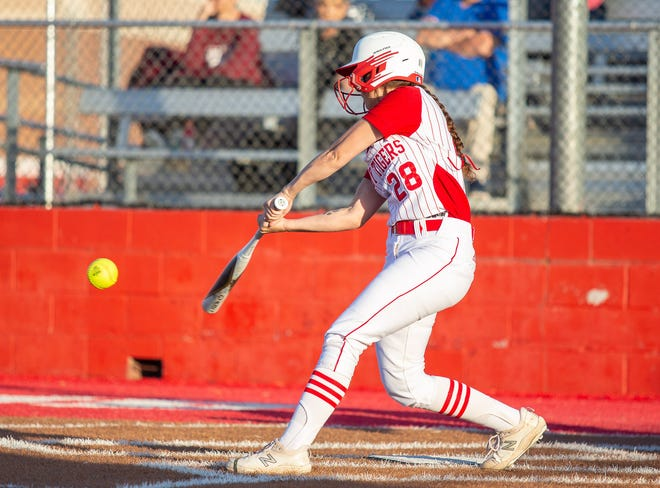Glen Rose catcher Felicity Austin, seen here in action against Brownwood earlier in the year, drove in four runs in the Lady Tigers 15-4 victory over Gatesville on Tuesday.