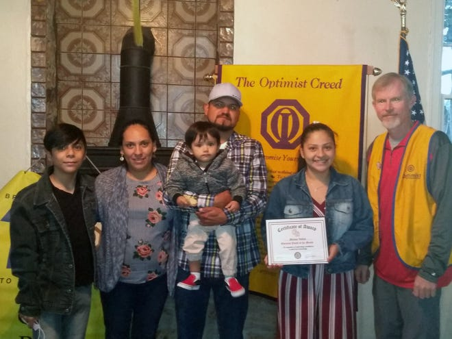 Melany Valles was named a Glen Rose Optimist Club Youth of the Month at a ceremony on March 23 at Barnard's Mills.