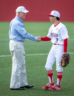 U.S. Congressman Roger Williams shakes hands with Glen Rose starting pitcher Wyatt Walters prior to throwing out the first pitch prior to Glen Rose's game with Stephenville on Tuesday night.