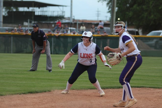 Ascension Christian's Hallie Dupre (left) was 1-2 with a walk and an RBI in the Lady Lions' 2-1 win over Ascension Catholic.