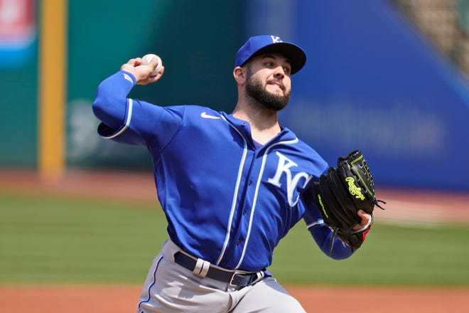 Kansas City Royals starting pitcher Jakob Junis delivers in the first inning of a baseball game against the Cleveland Indians on Wednesday in Cleveland.