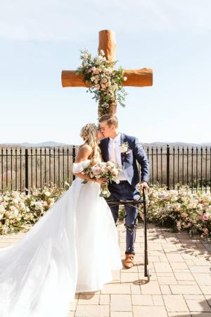 U.S. Rep. Madison Cawthorn and Cristina Bayardelle, legally married Dec. 29, 2020, held a religious ceremony April 3.
