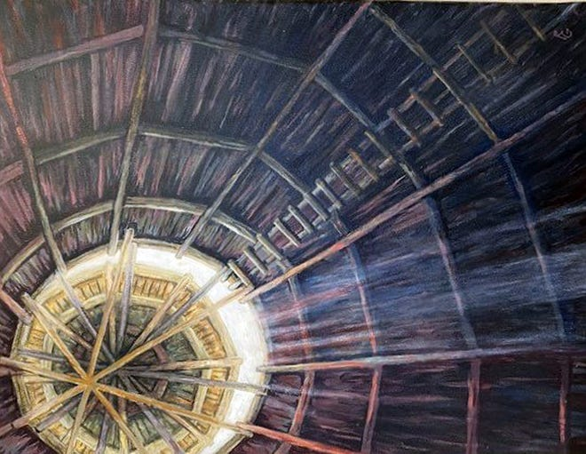 """Roger Goodspeed of Freeport was a state winner with his painting entitled """"Barn Silo"""" with the 2021 Wisconsin Regional Arts Program at Monroe Arts Center in Monroe, Wisconsin."""