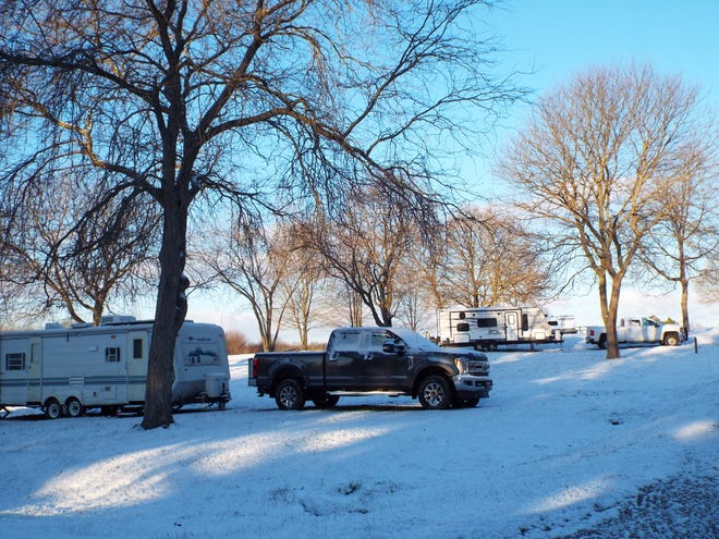 It was a snowy April Fools' Day for some campers at Silver Springs Campground in Stow. April 1 was opening day for the campground.