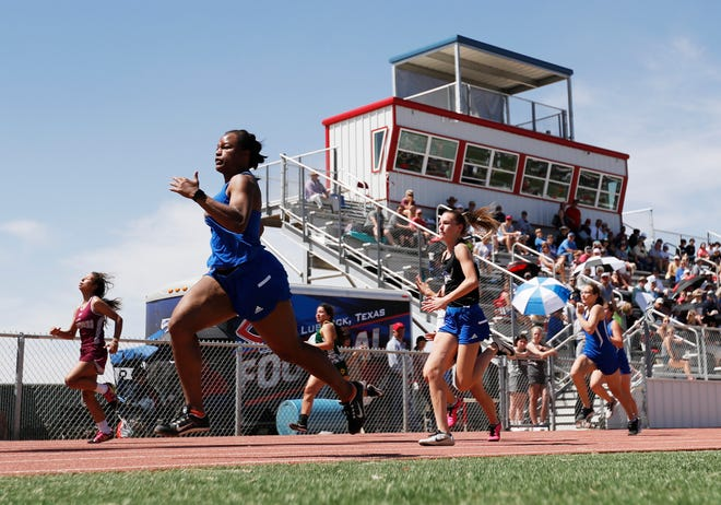 Lubbock Christian's Clara Dendy (middle) competes in the 100-meter dash at the Lubbock Christian Invitational on Apr. 8 at Warwick Memorial Stadium.