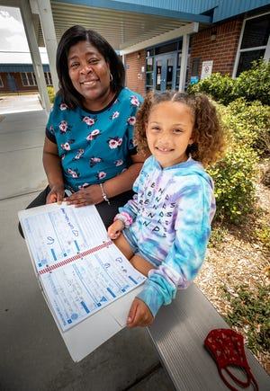 Second-grade teacher Demeteria Patterson, left,  and student Mariyah Davis write little love notes back and forth in her agenda at Dr. NE Roberts Elementary School in North Lakeland.