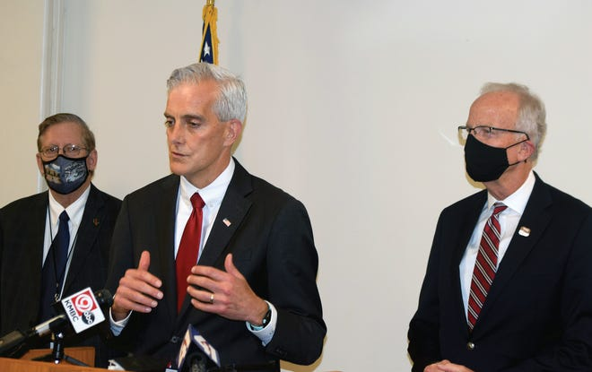 Denis McDonough, center, speaks Thursday during a visit to the Eisenhower VA Medical Center. McDonough is the secretary of the U.S. Department of Veterans Affairs. Also pictured are William Patterson, director of the VA Heartland Network, and U.S. Sen. Jerry Moran, R-Kansas.