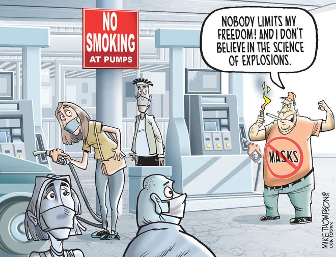 A Mike Thompson cartoon about stubbornness married to ignorance