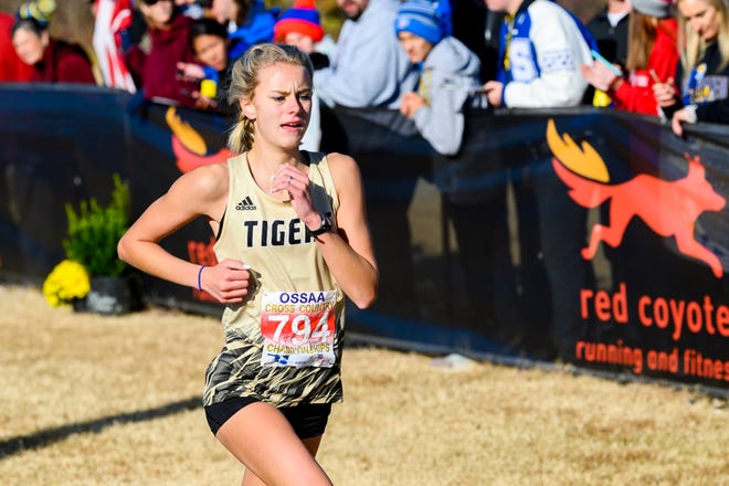 Broken Arrow's Payton Hinkle wins the Class 6A girls country state race in Edmond on Nov. 2, 2019.