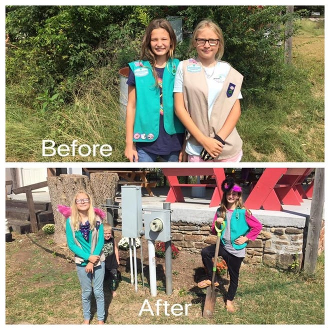 Before the girl started working, bushes, undergrowth and brush had grown so wild and full of weeds that one side of the pavilion could not be seen. Katelyn Marston and Charolette Emde posed on the side of the pavilion before and after they got to work on their project.