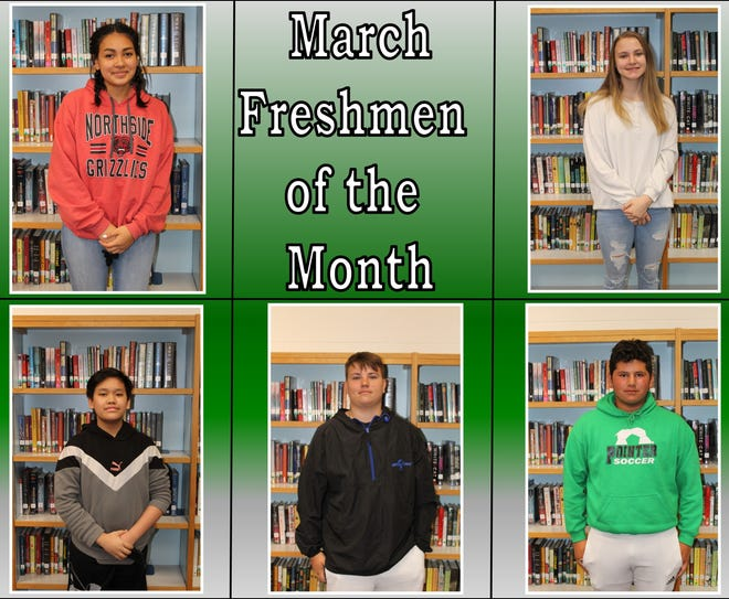 """The Van Buren High School Freshman Academy is using Sean Covey's book """"The Seven Habits of Highly Effective Teens"""" to determine which students will be Freshman of the Month. The faculty and staff nominate and vote on students who demonstrate a selected habit for the month. March's selected habit was """"synergize."""" This is when two or more people work together to create a solution better than they could do alone.  Top row from left: Cindy Trejo and Alexis Schmotzer. Bottom row: John Pham, Lathan Haydon and Edgar Recinos. Not pictured: Laura Mitchell."""