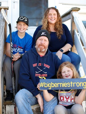"""The Andersons of Quincy - Bernie,9, mom Marianne, dad """"Big Bernie,"""" who is fighting brain cancer, and Ruby, 7."""