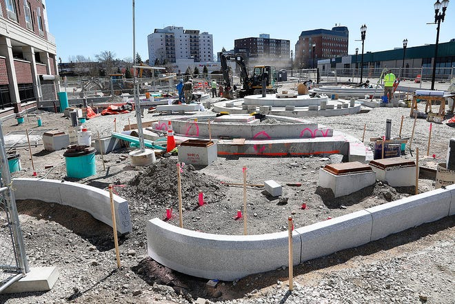 The nearly completed Generals Bridge and Park off Hancock Street at the Parking Way in Quincy Center on Thursday April 8, 2021 Greg Derr/The Patriot Ledger