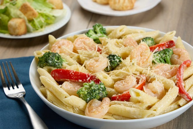 Garlic shrimp with penne is among the entree options for TooJay's Choose Three meal deal.