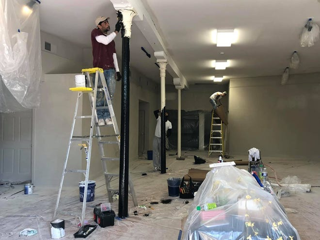 The Petersburg Area Art League Main Gallery receives a fresh coat of paint on April 7, 2021 in Old Towne Petersburg.