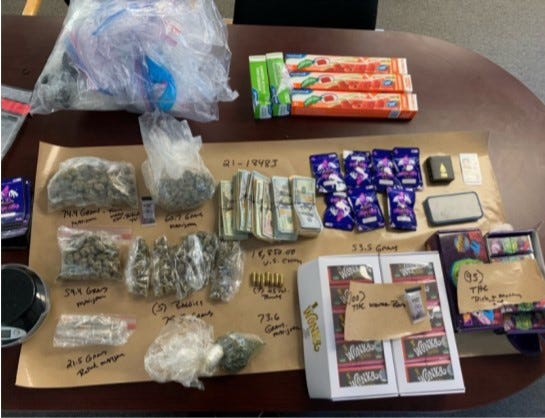 The Cranston police say they seized marijuana, edible THC, ammunition and more than $18,000 in cash.