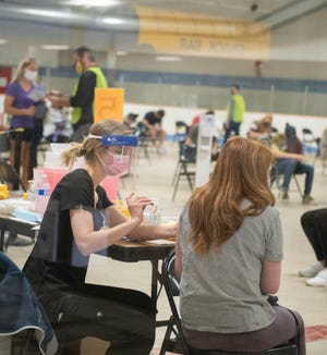 Kent State University held a vaccination clinic on campus at the Ice Arena for students.