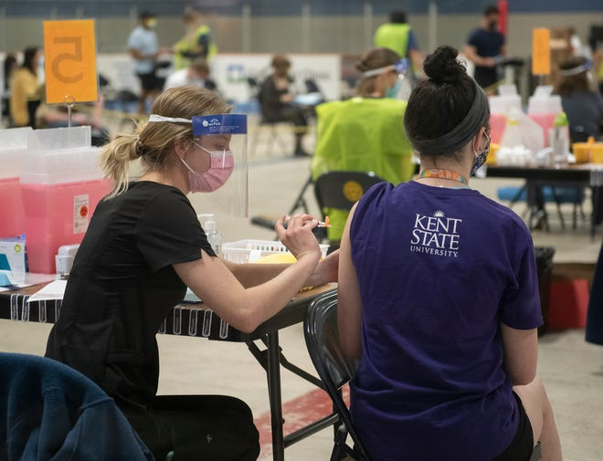 Kent State University held a vaccination clinic Thursday on campus at the Ice Arena for students.