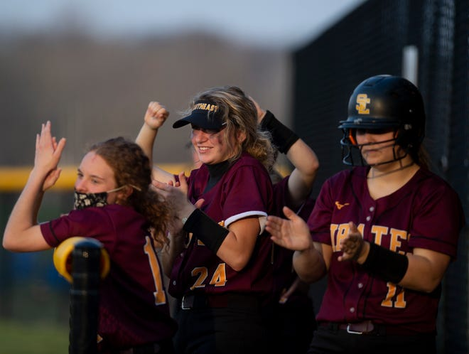 Streetsboro hosted Southeast for a non-conference softball game with the Pirates winning 10-3. Pirates bench react late in the sixth inning.