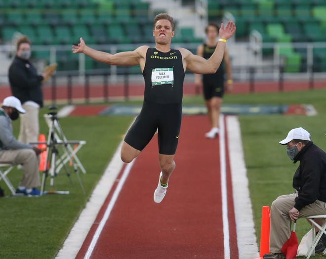 Oregon's Max Vollmer, seen here competing in the long jump at the Hayward Premiere at Hayward Field last weekend, won the decathlon at the Jim Click Shootout on Friday in Tucson, Ariz.