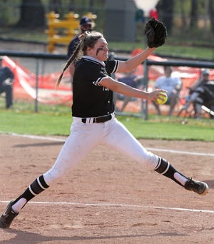 Missy Holzopfel of Perry delivers a pitch during their game against GlenOak at Perry on Wednesday, April 7, 2021.