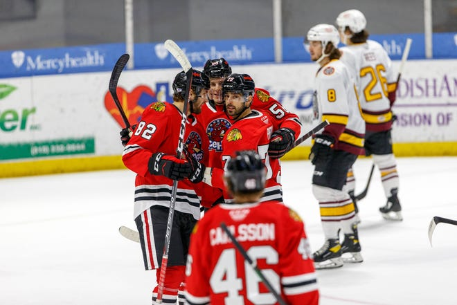 Brandon Pirri and others await the arrival of Lucas Carlsson for their celebration of one of Pirri's three goals on Wednesday night. Carlsson was traded to Florida on Thursday.