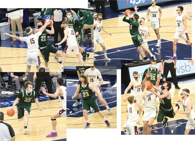 State Tournament scenes: clockwise from top left - Trent Steffensmeier looks for a shot, Carson Domeier in the play; Kaleb Wait shoots, high scorer in the game with 19; Jacob Lux battles for control of the ball; Seniors Braden Hansen (center) and Kyle Goblirsch.
