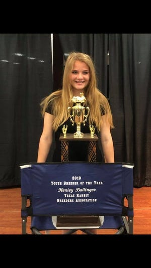 Stephenville's Henley Ballinger was recently named the Texas Rabbit Breeders Association Youth Breeder of the Year. Ballinger breeds and raises Mini Rex rabbits and continues to spend a lot of time and energy ensuring her program is the best it can be.