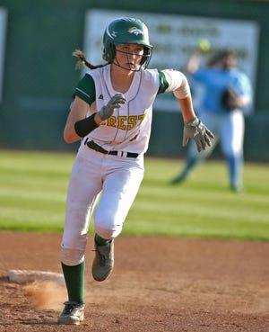 Crest's Mackenzie Hayes runs toward third base during a 2019 game against Burns.