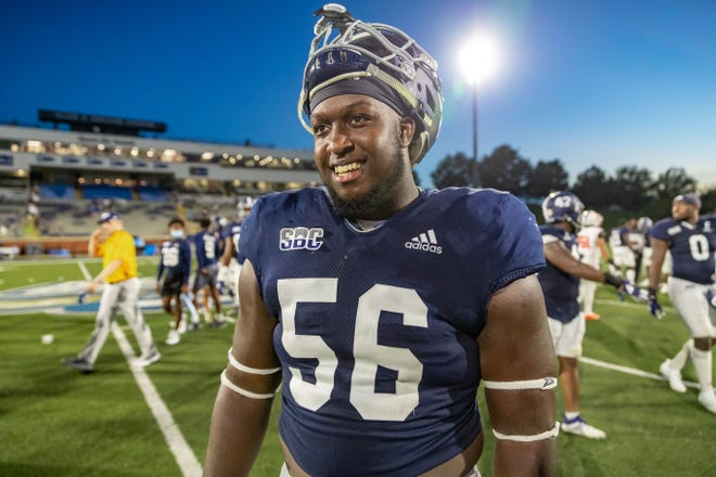 Georgia Southern offensive lineman Brian Miller, a Memorial Day School graduate, and the Eagles faced the Campbell Fighting Camels on Sept. 12, 2020 at Paulson Stadium in Statesboro.