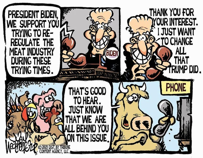 Weatherford cartoon: Re-regulating the meat industry. Joey Weatherford cartoon on President Joe Biden and the meat industry.
