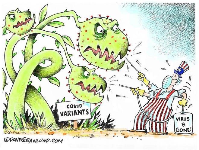Granlund cartoon: COVID variants battle Dave Granlund cartoon on COVID variants.
