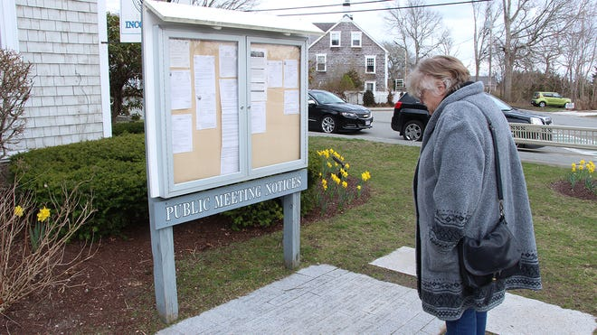 Barbara Gaspar looks at the names of honored veterans in front of the Mattapoisett Town Hall.