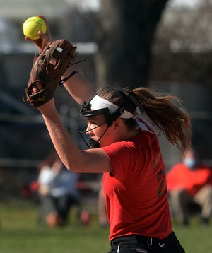 NFA senior Tessa Hospod pitches Tuesday during a scrimmage against Waterford in Norwich.