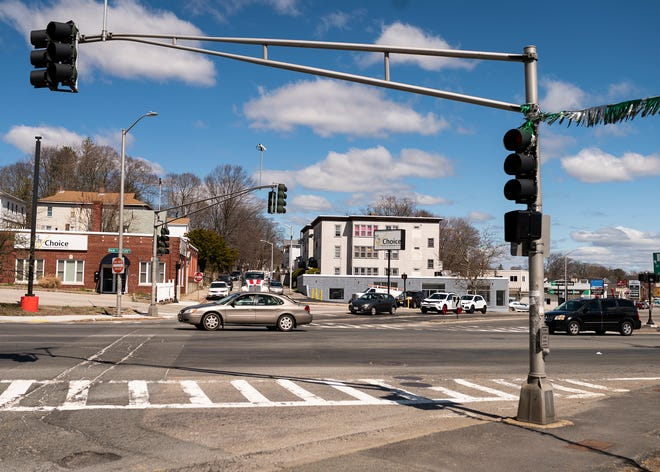 The busy Gardner Square intersection in Worcester, which gained traffic signals in 1964.