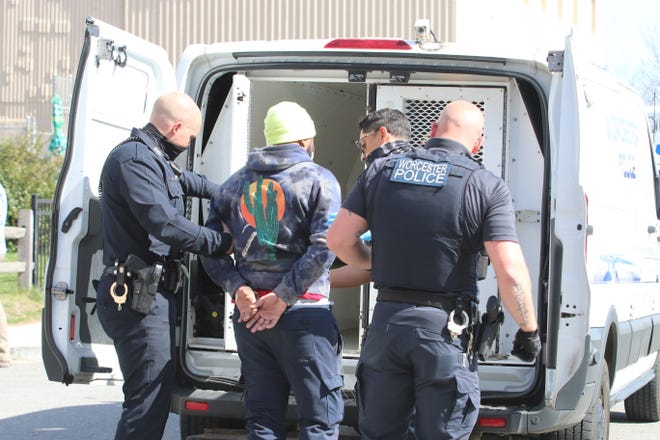 Worcester police took two men into custody about 3:15 p.m. Thursday.