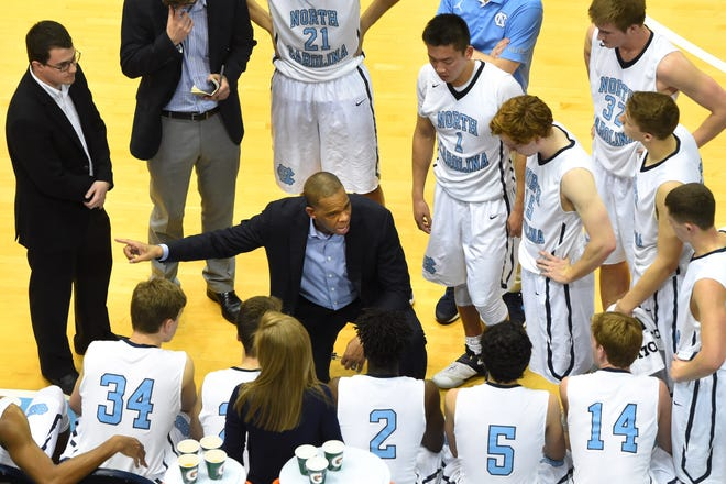 Hubert Davis, pictured here in 2017, coached the UNC junior varsity men's basketball team before being named head coach in April 2021.