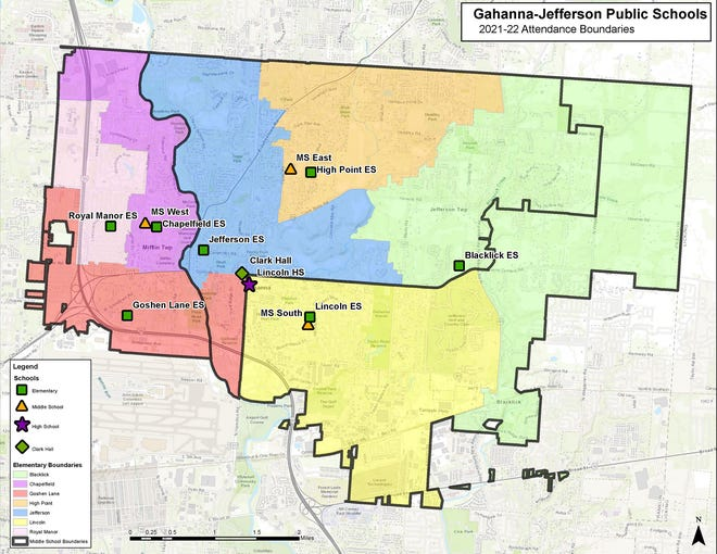 The Gahanna-Jefferson Public Schools boundaries map for the 2021-22 school year is part of phase 1 of the redistricting process.
