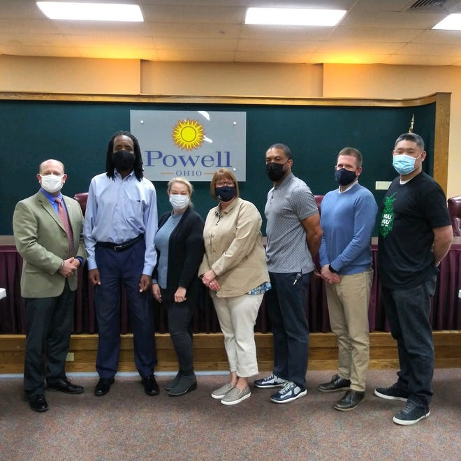 Members of the cIty of Powell's community-diversity advisory committee are (from left) police Chief Stephen Hrytzik, Robert Davis, Elina Coyne, City Council member Heather Karr, Dee Miller, City Manager Andrew White and Dustin Sun.